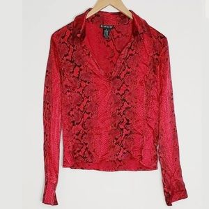 Bebe Red Animal Print Snakeskin Silk Blend Shirt